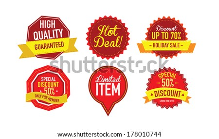 Set of luxury Sale labels. Vector Illustration  - stock vector