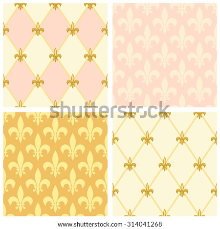 Set of luxury seamless patterns with vintage fleur de lis and diamond shape grid background, ideal for curtains textile or bed linen fabric or interior wallpaper design etc - stock vector