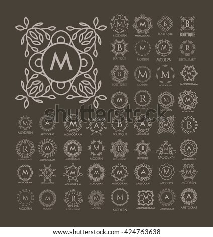 Set of luxury, simple and elegant  monogram design templates. Good for labels and logos. Vector illustration. Line style. Big set of monograms. Isolated on white.  - stock vector