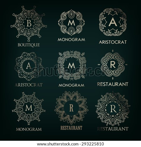 Set of luxury, simple elegant silver  monogram designs template with copy-space for text . Good for labels. Vector illustration. - stock vector