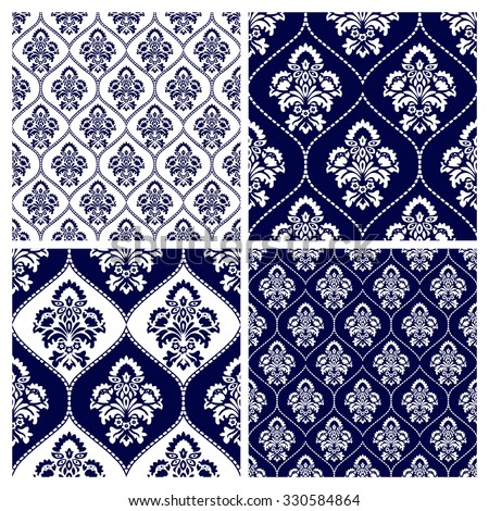 Set of luxury style white and blue background. Monochrome seamless pattern texture with floral motif. Vector illustration - stock vector