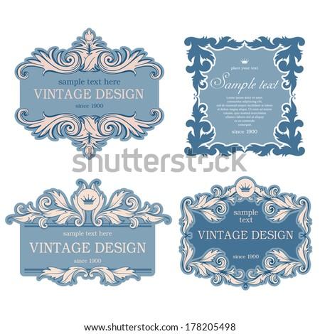 Set of luxury vintage frames. Vector, easy for edit.  - stock vector