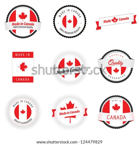 Set of made in canada labels badges and stickers