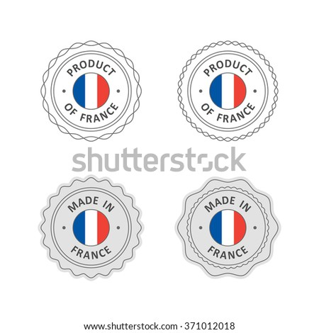 "Set of ""Made in France"" labels with French flag"