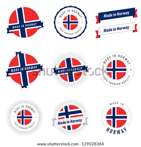 Set of Made in Norway labels and ribbons - stock vector