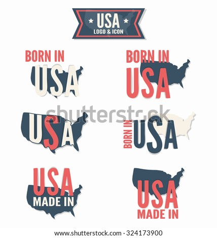 Set of Made in the USA and Born in the USA vector logo - stock vector