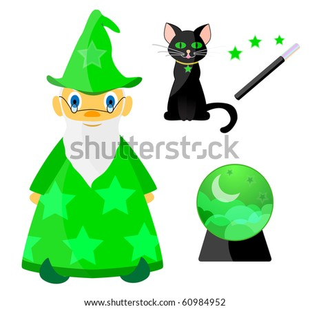 Set of magic elements with wizard in green