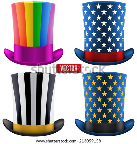Set of magic hats cylinder. Vector Illustration Isolated on white background. - stock vector