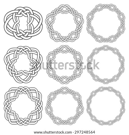 Set of magic knotting rings. Nine circular decorative elements with stripes braiding for your design. - stock vector