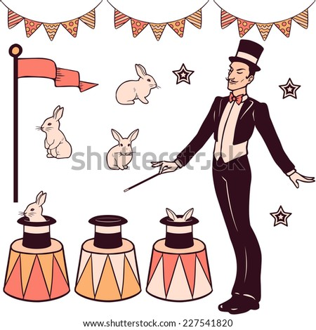 Set of magic performance elements, the magician, cylinder, white rabbits and decorations - stock vector