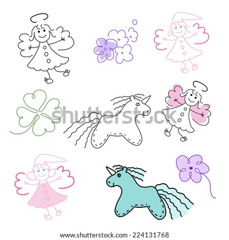 set of magic toys - stock vector