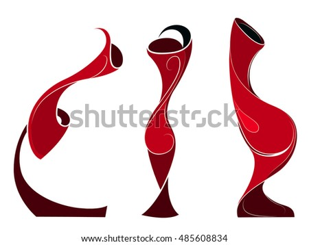 Set of magic vases with unusual shapes. Stylized object. Minimalism, isolated.