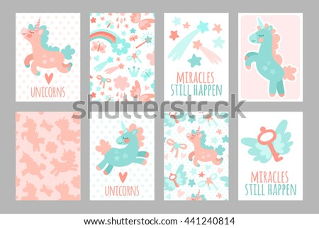 Set of magical cards with unicorns. Stars, unicorns, hearts and magic.