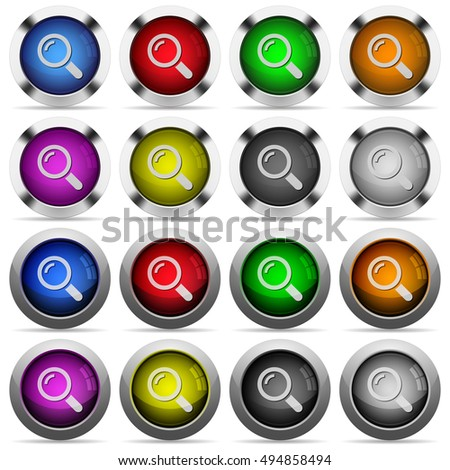 Set of magnifier glossy web buttons. Arranged layer structure.