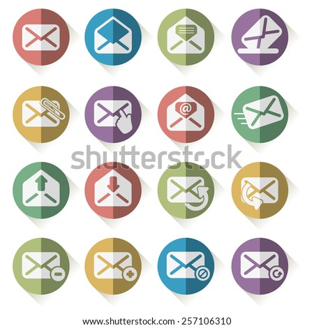 set of mail icons vector  - stock vector