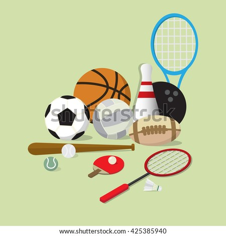 set of main sports equipment item