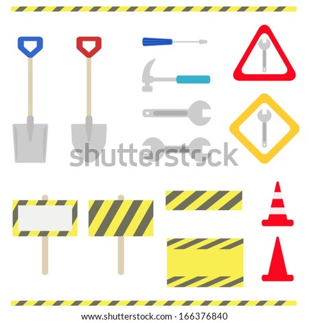 Set of maintenance  and under construction objects. Vector EPS 10 illustration