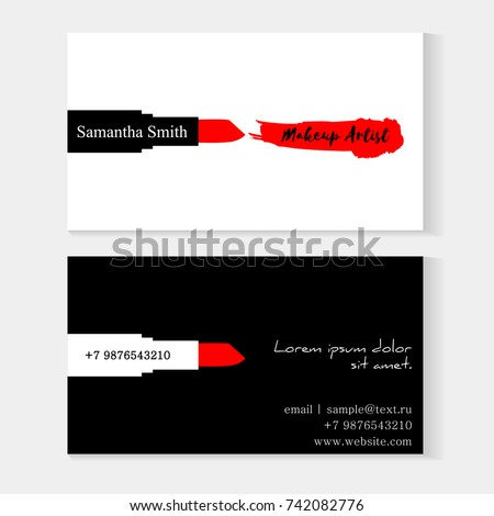 Set makeup artist business cards black stock photo photo vector set of makeup artist business cards black and white vector template with makeup smears red reheart Images