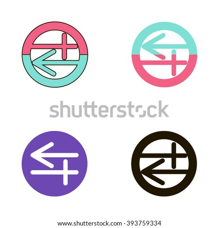 Set of male and female sex symbol. Logotype of gender equality. Sex icon set.  - stock vector