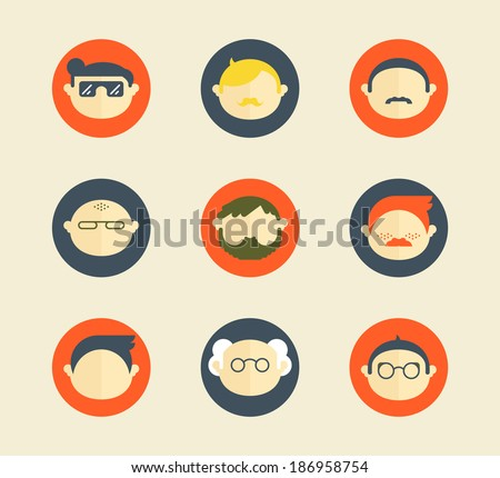 Set of 9 male characters avatars - stock vector