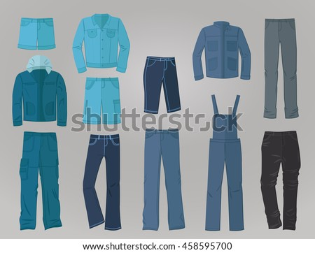 Set of male denim clothing in flat design