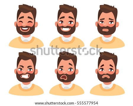 Set of male facial emotions. Bearded man emoji character with different expressions. Vector illustration in cartoon style