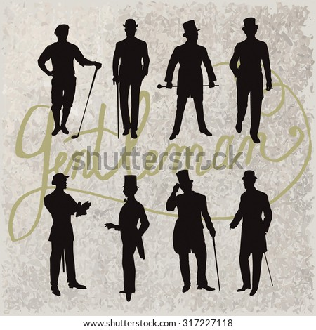 Set of male silhouettes retro1900s. Vintage Gentlemen collection - stock vector