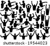 Set of male upper body editable vector outlines - stock photo