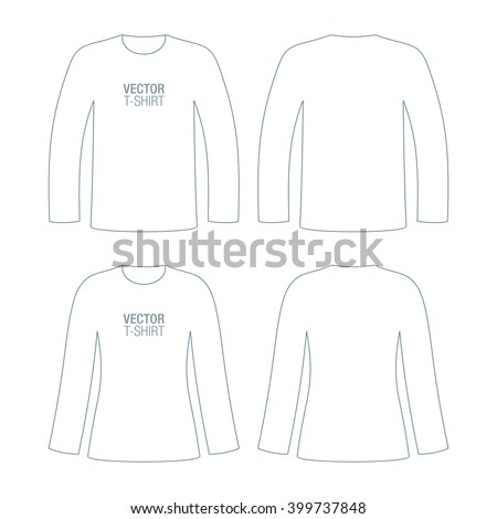 Set of man and woman, long sleeve vector T-shirt templates. - stock vector