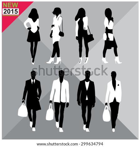 Set of man and women silhouette collection,editable - stock vector