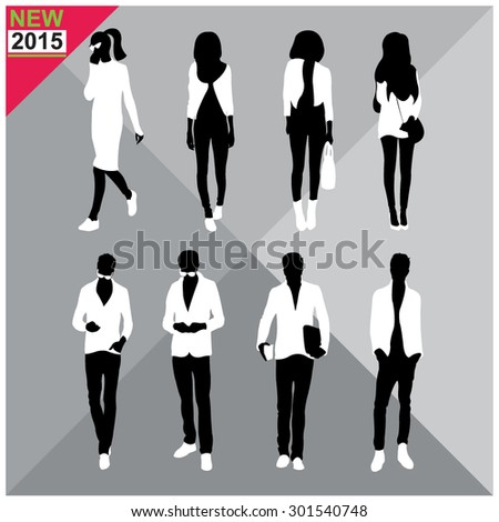 Set of man and women silhouettes collection,editable