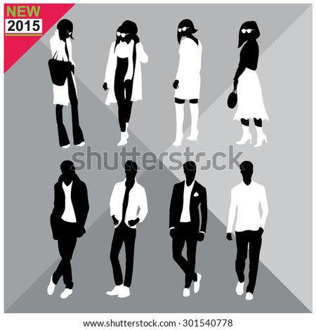 Set of man and women silhouettes collection,editable - stock vector