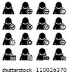 Set of management and administration female icons - stock vector