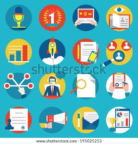 Set Of Management Human Resources And Customer Experience Icons