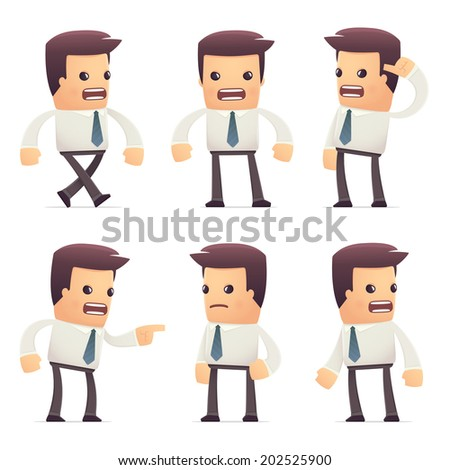 set of manager character in different interactive  poses - stock vector