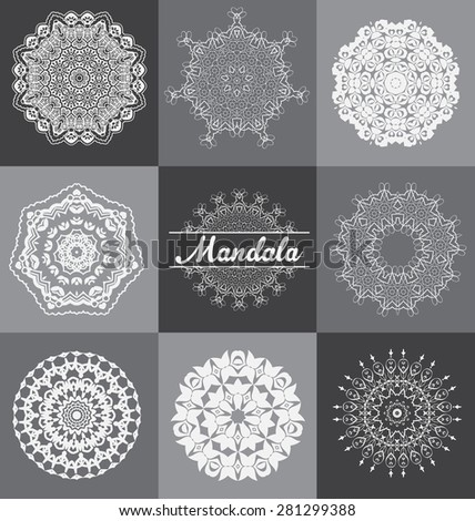 Set of 9 Mandala style ornament - Geometric circle elements. Abstract designs usable for birthday or other holidays - Kaleidoscope effect - Medallion shape popular in India and the Arabic world - stock vector