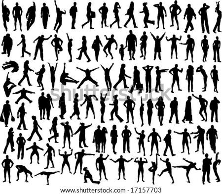 set of many different people silhouette - stock vector