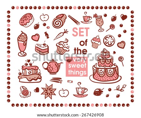 set of many sweet things - stock vector