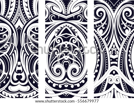 Set of Maori style ornaments. Ethnic themes can be used as body tattoo ...