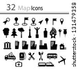 set of 32 map icons (Vector) - stock vector
