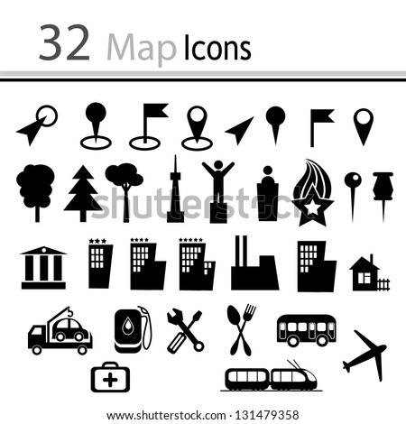 Set 32 Map Icons Vector Stock Vector 131479358 - Shutterstock