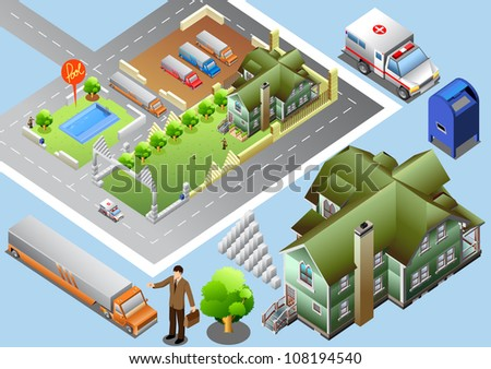 set of map isometric.  very detail isometric vector - stock vector