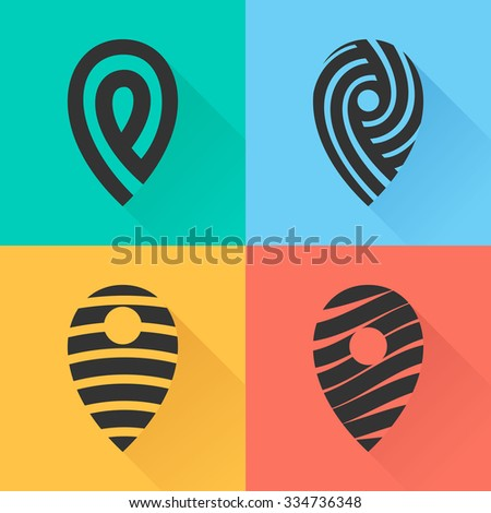 Set of map markers. Vector design template elements for your application or corporate identity. - stock vector