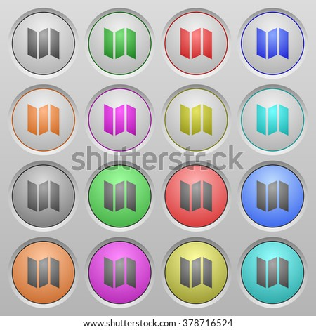 Set of map plastic sunk spherical buttons. - stock vector