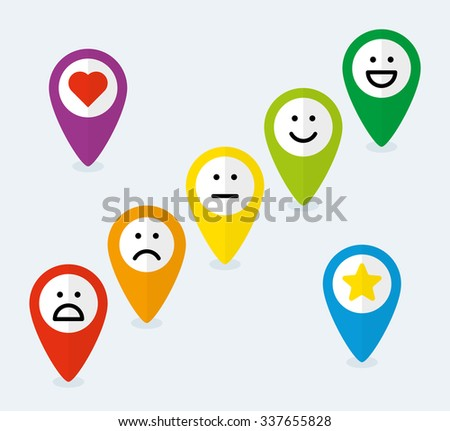 Set of map pointers with feedback emoticons in flat style - stock vector