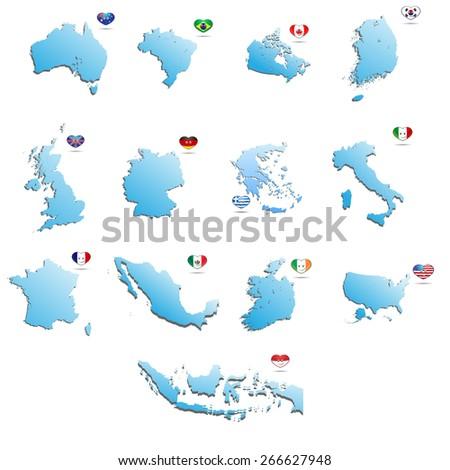 set of maps - stock vector