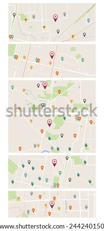 Set of maps with pointers - stock vector