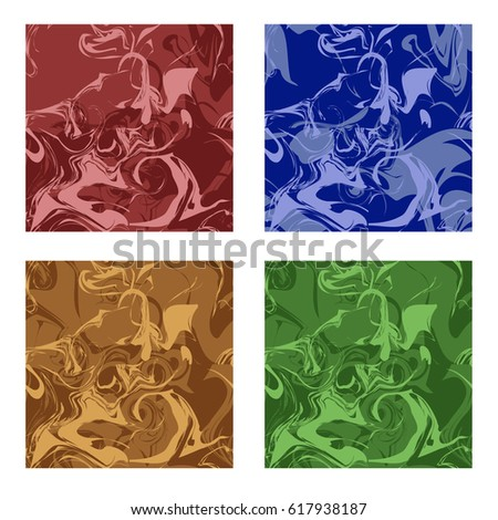 Set of marble texture patterns. Seamless patterns of different colors, abstract design .background. Vector illustration.