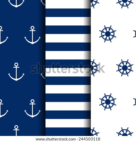 set of marine backgrounds - stock vector