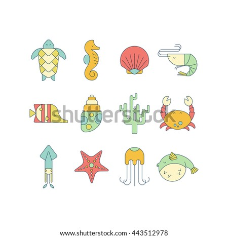 Set of marine colorful icons with sea creatures in flat style. Turtle, seahorse, shell, shrimp, squid, coral, crab, starfish, jellyfish, fish. Perfect for website, logotype and promotional materials.